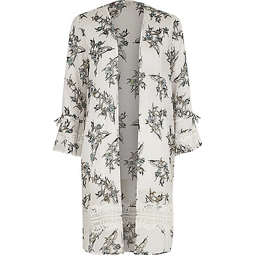 Cream floral print lace insert duster