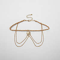 Beige plait drape chain filigree choker
