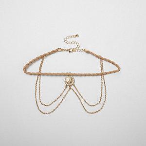 Ras-de-cou en filigrane beige tressé à chaîne drapée