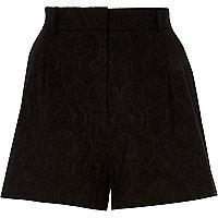 Black jacquard shorts