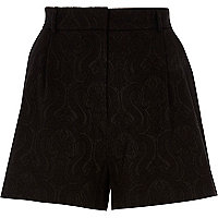 Short jacquard noir