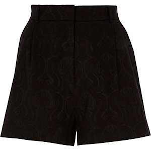 Black jacquard shorts