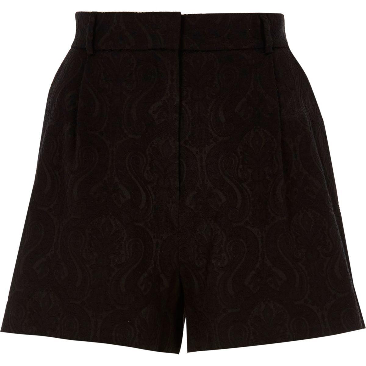 Schwarze Jacquard-Shorts