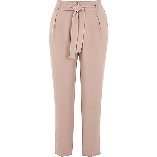Light pink tie waist tapered trousers