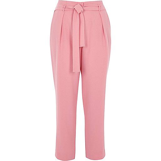 Pink tie waist tapered pants