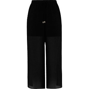 Black chiffon panel culottes