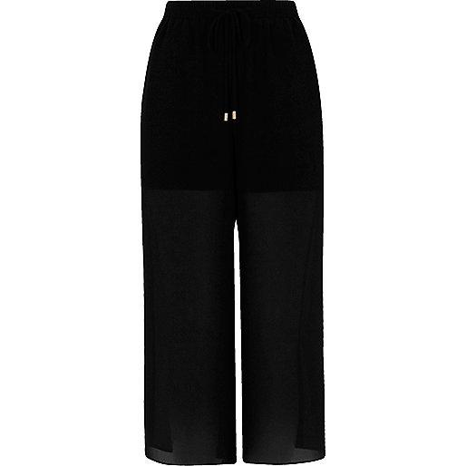 Black chiffon panel culottes