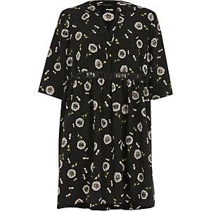 Black floral print smock dress