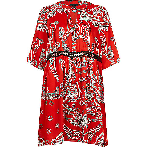 Red paisley print swing dress
