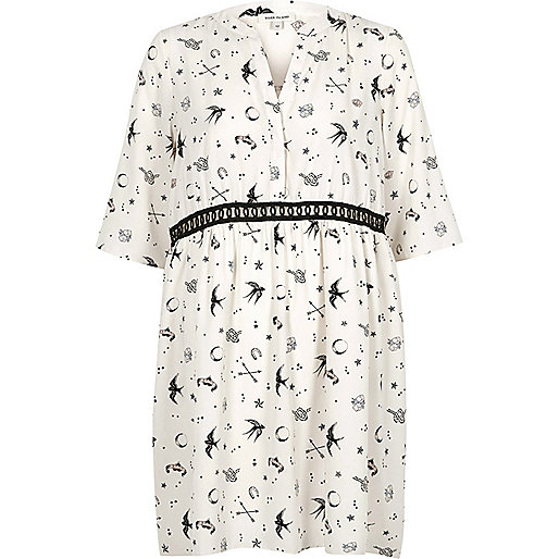 Cream tattoo print smock swing dress