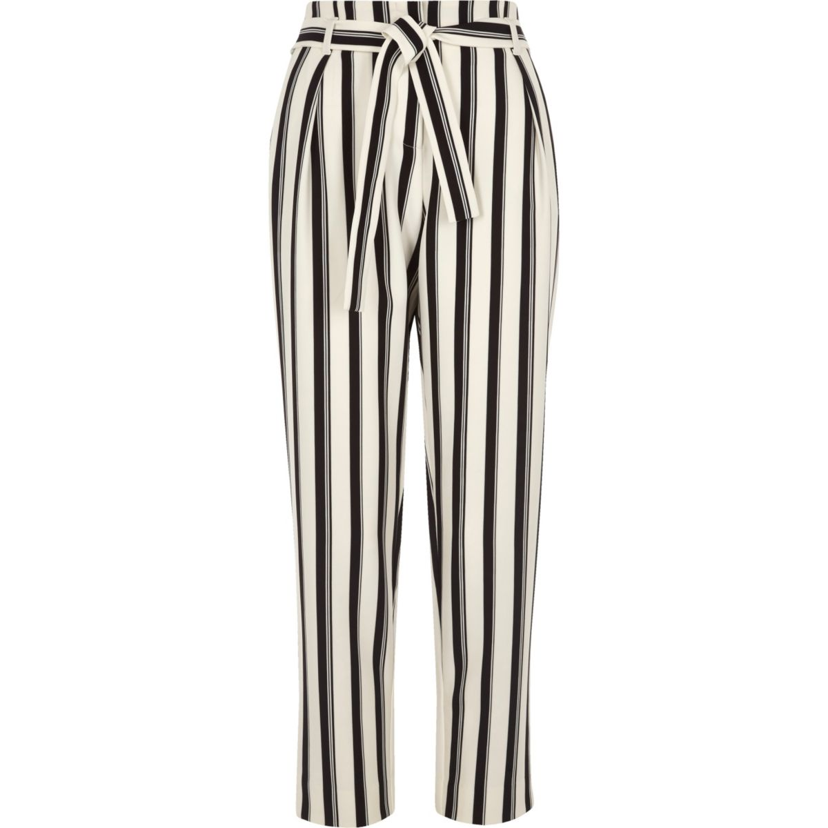 Black Stripe Tie Waist Trousers For Women Outlet, Trousers 2145 ...