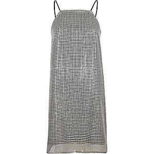 Silver sequin cami mini slip dress