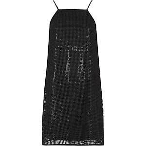 Zwarte korte cami-slipjurk met lovertjes