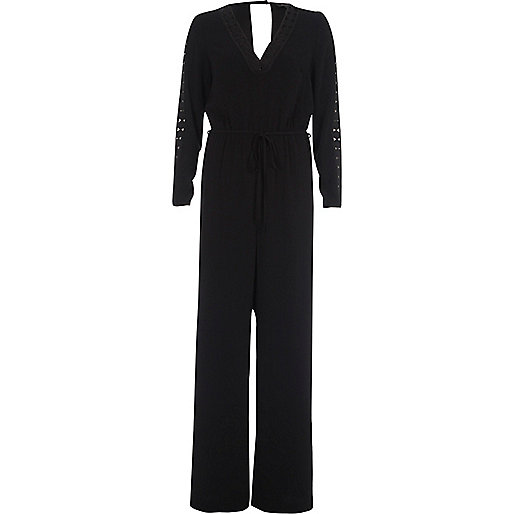 Black crochet insert wide leg jumpsuit