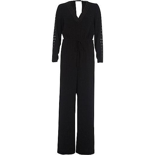 Zwarte jumpsuit met gehaakte inzetten en wijde pijpen
