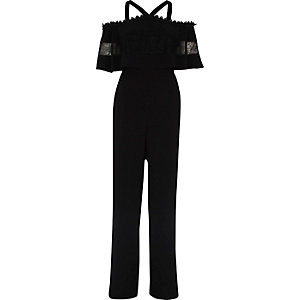 Black bardot lace detail wide leg jumpsuit