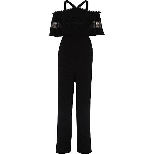 Black bardot lace detail wide leg jumpsuit
