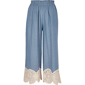 Light blue lace hem culottes