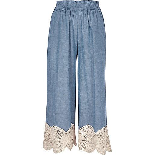 Light blue lace hem culottes