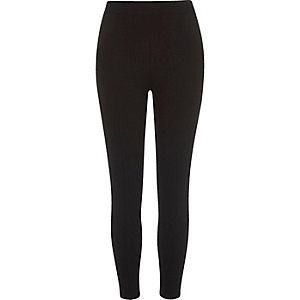 Black jersey ribbed panel leggings