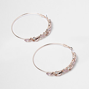 Orange embellished cluster hoop earrings
