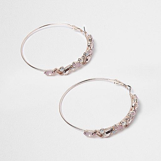 Orange embellished cluster hoop earrings