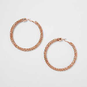 Rose gold rhinestone rope hoop earrings