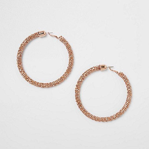 Rose gold rhinestone rope hoop earrings