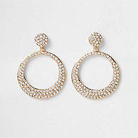 Gold tone rhinestone pave circle drop earrings