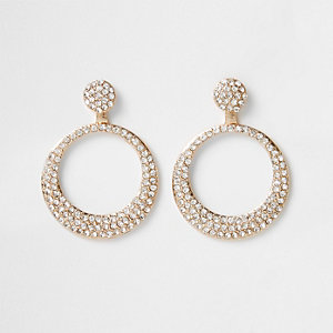 Gold tone diamante pave circle drop earrings