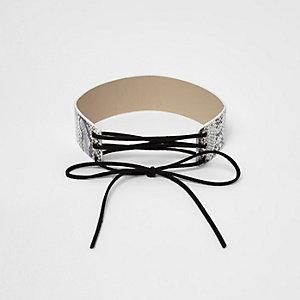 Collier ras-de-cou motif serpent blanc style cravate texane