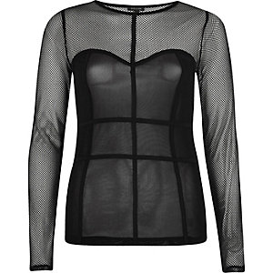 Black mesh corset seam top