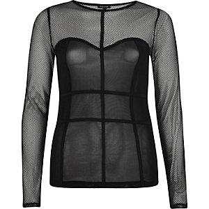 Top en tulle noir à coutures effet corset