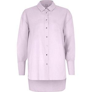 Chemise oversize violet clair à manches nouées