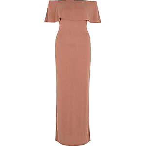 Rust frill bardot split skirt maxi dress