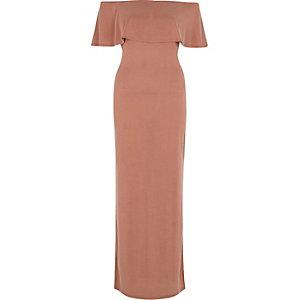 Rust frill bardot split skirt maxi dress