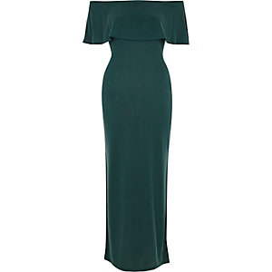 Green deep frill bardot maxi dress