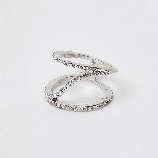 Silver tone diamante spiral ring