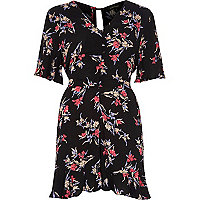 Black floral print tea dress style romper