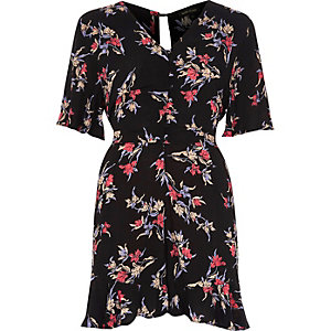 Black floral print tea dress style romper