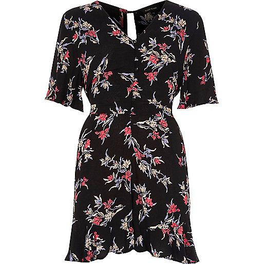 Combi-short à fleurs noir façon robe d'été