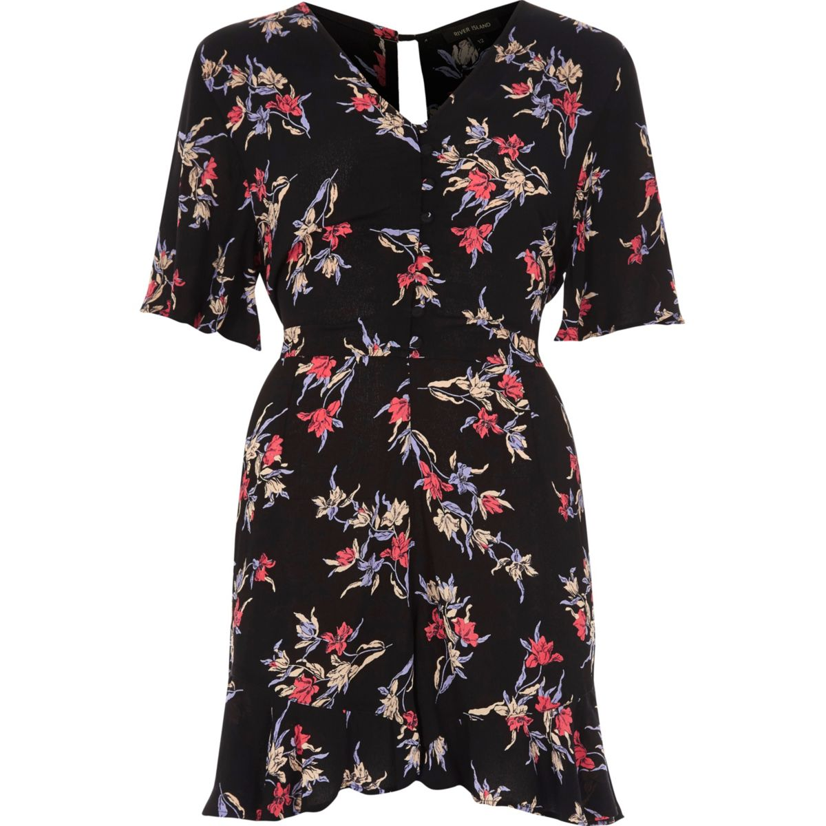 Black floral print tea dress style playsuit