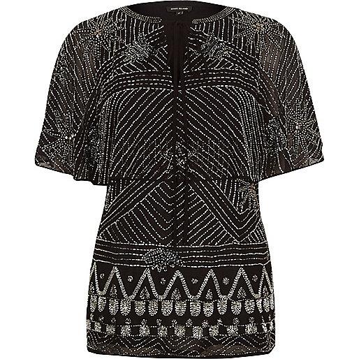 Black embellished cape top