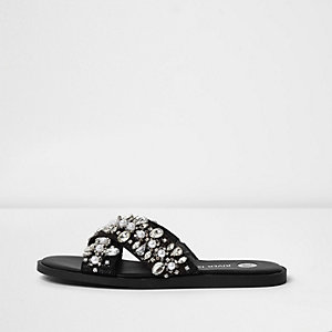 Black rhinestone cross strap sliders