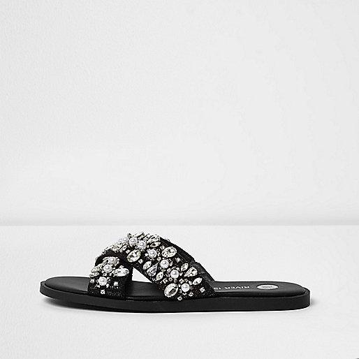 Black diamante cross strap sliders