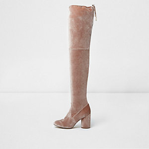 Light pink velvet over-the-knee boots