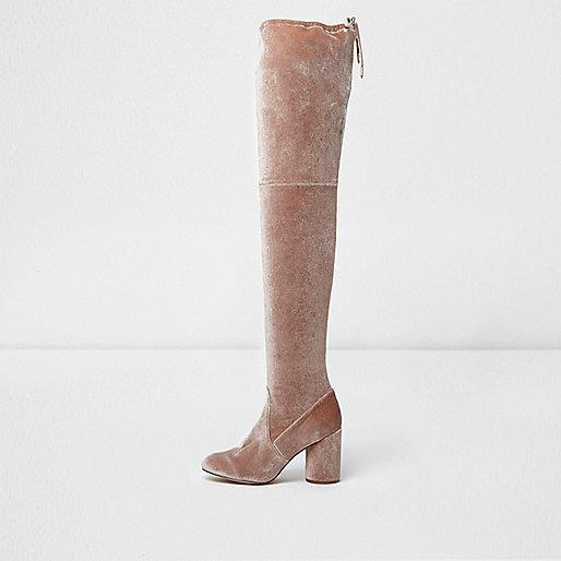 Light pink velvet over-the-knee boots