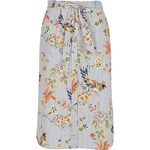 Blue stripe floral print tie waist midi skirt