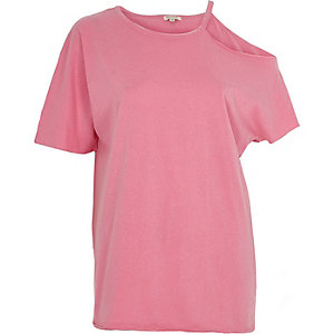 Pink washed one shoulder T-shirt