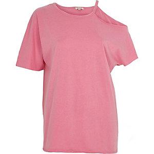 Pinkes, vorgewaschenes T-Shirt